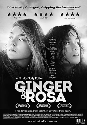 Ginger and Rosa Canadian Theatrical Poster Black and White